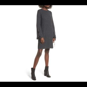 Sweater dress with tie sleeves